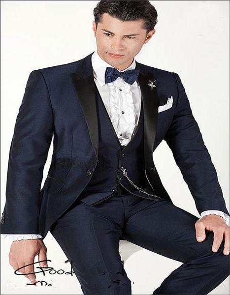 Wholesale-Peak Lapel One Button Blue Gun gray Groom Tuxedos Best Man Suits Wedding Mens suits Groomsmen Suits Prom Business 3 Pieces