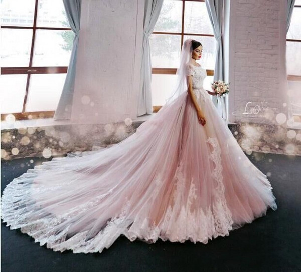Amazing Blush Pink Wedding Dresses Lace Appliques Beads Short Sleeve Bridal Gowns Tulle Chapel Train Wedding Dresses Custom Made