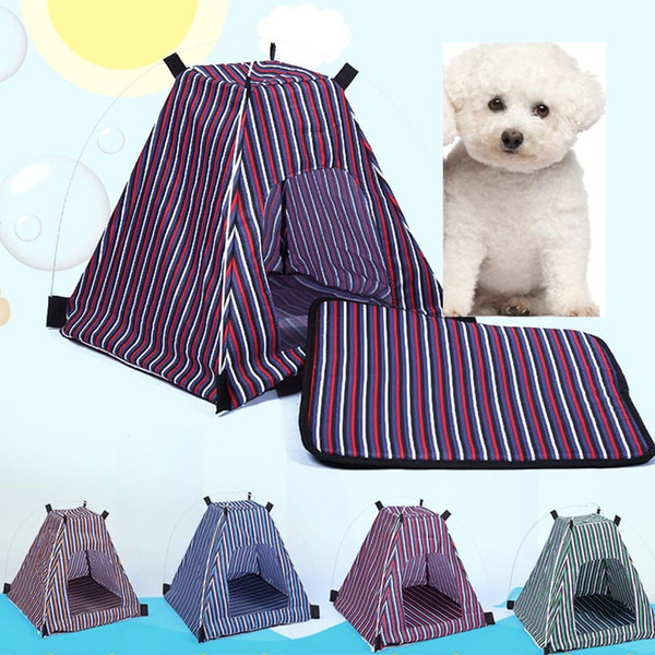 top popular Summer Pet Dog Cat Kennel Removable Detachable Waterproof Oxford Cloth Pet Tent Stripe Style Outdoor Travel Pet Bed Supplies WX-G17 2020