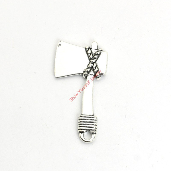 12pcs Antique Silver Plated Tool AX Charms Pendants for Bracelet Jewelry Making DIY Necklace Craft 42x21mm