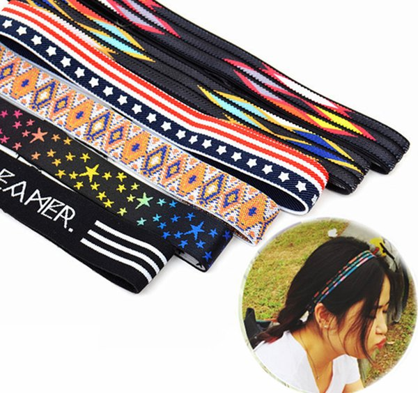 Sports belt with national wind embroidery printing head with elastic running fitness with hair belt wholesale free shipping