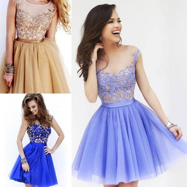 new round neck lace applique Cocktail Dresses sexy perspective perfect body Prom Dress 2016 elegant gorgeous pageant skirts plus size