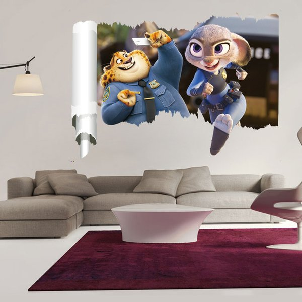 3d Cartoon Funny Film Zootopia Wall Stickers Removable Wall Plate At Home For A Child S Roompvc