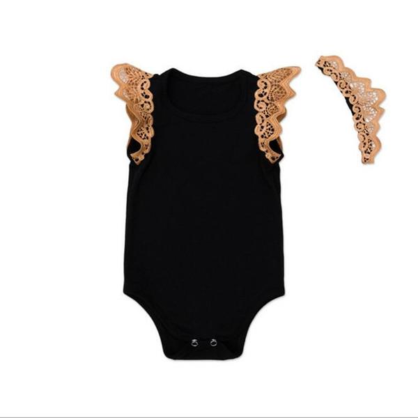 Wholesale Lace Ruffle Sleeve Summer Knit Cotton Baby Girls Bodysuit Set Black 2pcs Girls Clothing Set Playsuit with Headband
