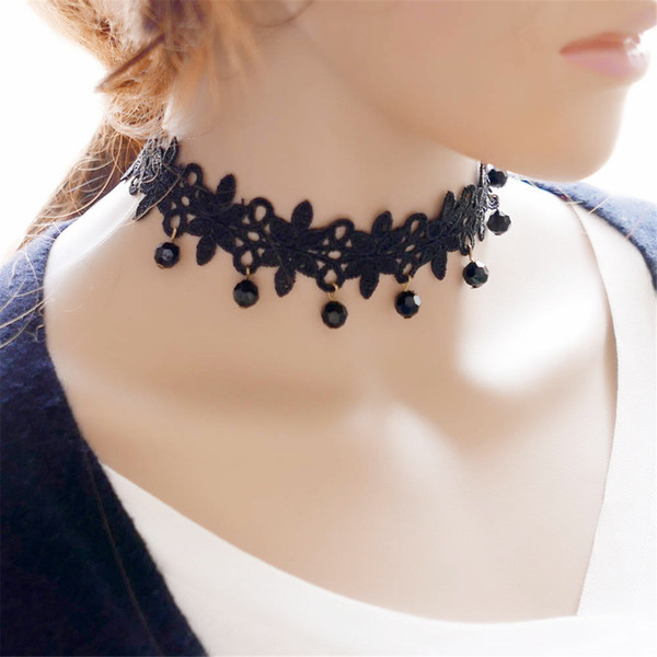 Black Retro Gothic Collar Lace Necklace Crystal Pendant Chock Jewelry For Women Pack of 10PCS