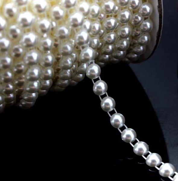 25Meter 6mm White/Ivory flatback flower bead thread sewing trim fabric craft half round fishing line beads Pearl Beads Garland Wedding Cente