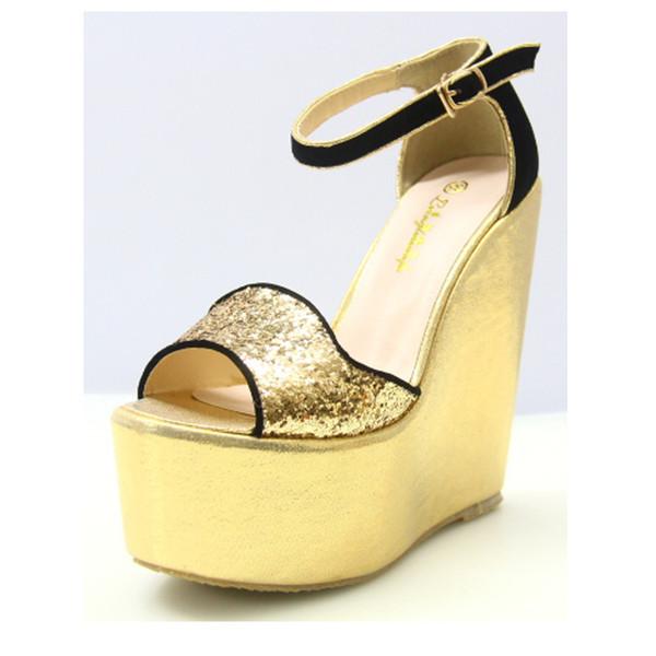 Wedges Women Sandals 15cm High Heels Buckle Sandals For Women Platform Women Sandals Shoes Size 35-43 Gold