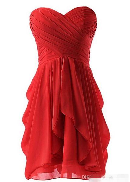 Free Shipping fashion elegant short prom dress 2019 sweetheart pleat chiffon simple women coctel dresses for formal party