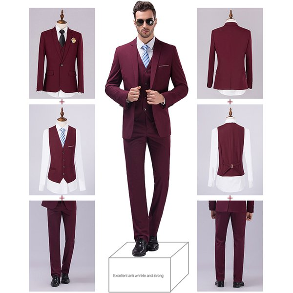 Cheap Jackets Vest Pants New Burgundy Black Men Suits Slim Fit ...