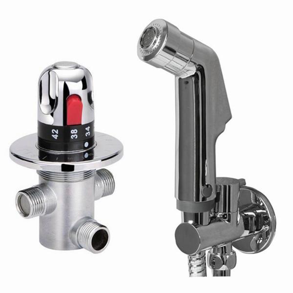 top popular brass Thermostatic bidet Mixing Valve copper brass chrome Bidet Sprayer Shower Set Spray shower Douche kit Temperature water bidet set Bd12 2021