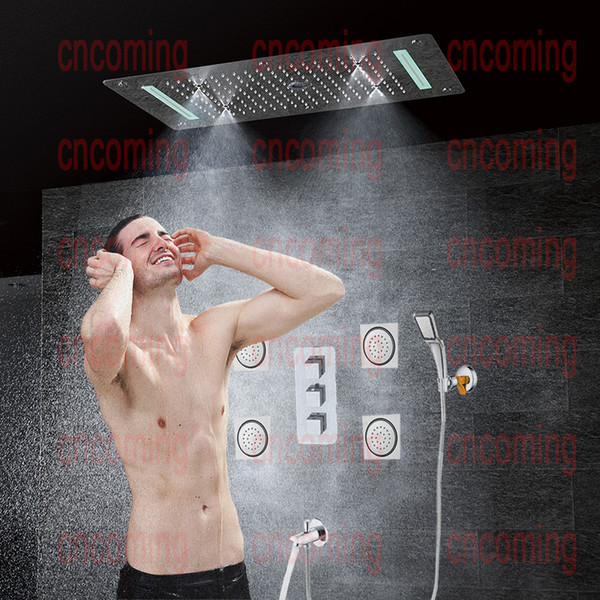 Bathroom Concealed Shower Set with Massage Jets & LED Ceiling Shower Head & Spout Thermostatic Bath Panel Rain Waterfall Bubble Mist CS5422