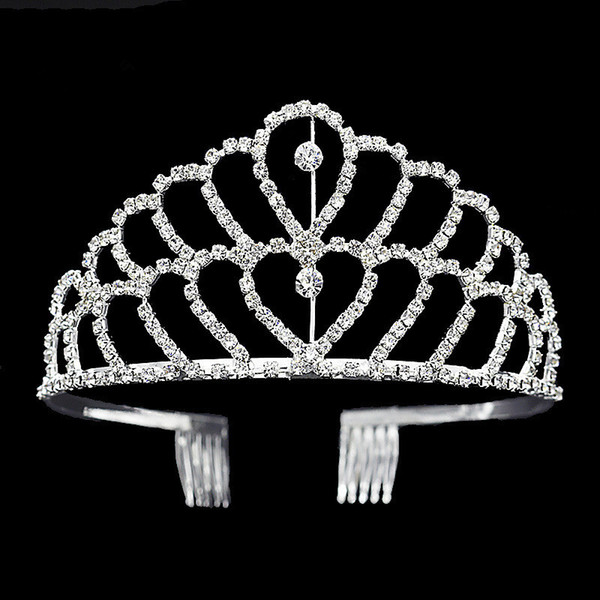 top popular Luxury crown Shiny Crystal Bridal Tiara Party Pageant Silver Plated Wedding Crowns Hairband Cheap Wedding Hair Accessories Of Tiaras 2017 2021
