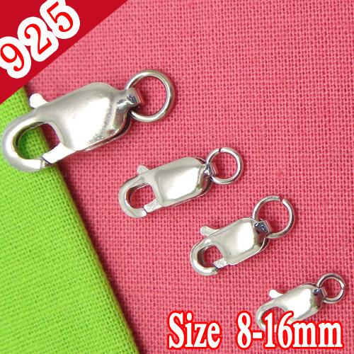 Wholesale-Min 10piece,925 Sterling Silver 8-16mm Lobster Clasps Connectors for diy Jewelry Making