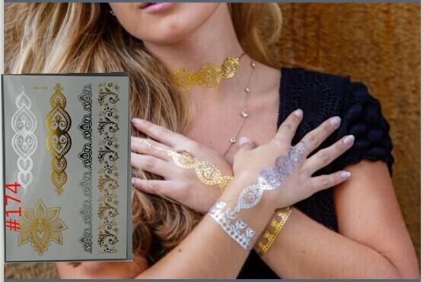 800 Styles flash gold metallic henna fake bodystocking tatoo temporary stickers arabic golds glitter large temporary tattoos