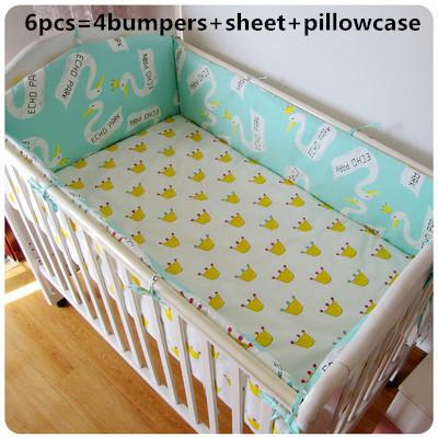 Promotion! 6PCS Bear Baby Bedding Cot Bumpers Sheet Bed Sets 100% Cotton, Baby Bed Set (bumpers+sheet+pillow cover)