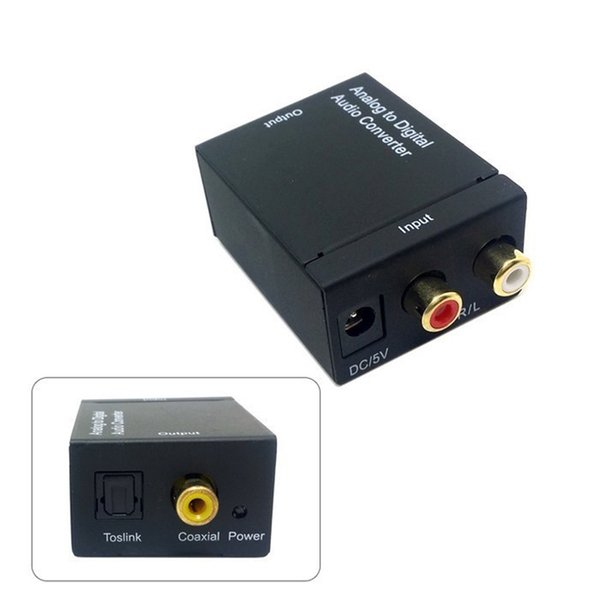Audio Converter Toslink Optical Digital Signal To Analog 3.5mm RCA L Audio Converters Adapter Good Quality Free Shipping