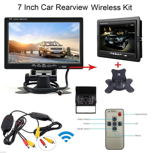 HD Auto 7 inch LCD Parking Rearview Monitor + Waterproof Wireless Car IR Rear View Backup Reversing Camera Kit CMO_51Y