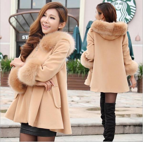 Женские шерстяные зимние куртки с капюшоном из натурального меха корейского цвета с капюшоном с длинным рукавом с капюшоном Девять очков Шерстяное пальто с капюшоном Верхняя одежда Зимняя шаль Пончо