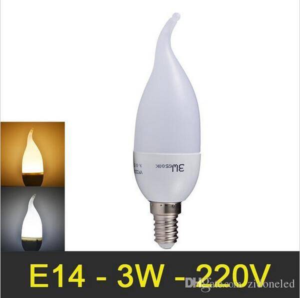 Lâmpada LED Vela E14 3W SMD2835 Super brilhante lâmpada LED de proteção ocular Quente Branco / Branco 110 V 220 V