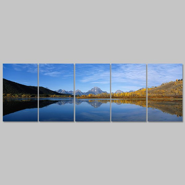 Big size 5pcs/set Mountain landscape lake decoration blue sky Canvas Painting wall Art print living room home decor unframed