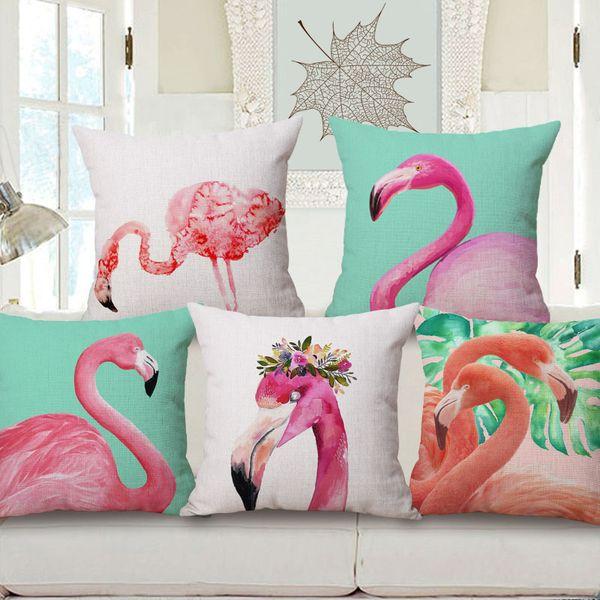wild animal cushion cover 45cm pink flamingo almofada cotton linen throw pillow case indoor outdoor decorative cojines for home