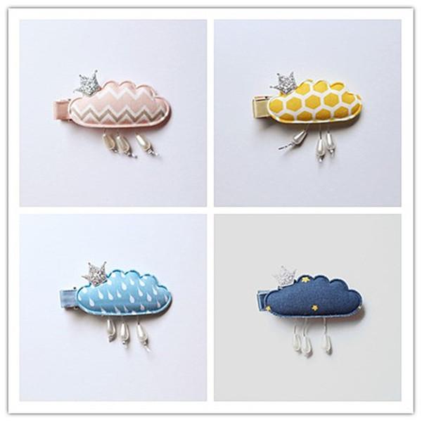 20pcs Cloud 4 Colors New Princess Baby Girls Hair Clips with Mini Glitter Felt Crown Navy Blue Hair Grip Stripe Pink Hairpins