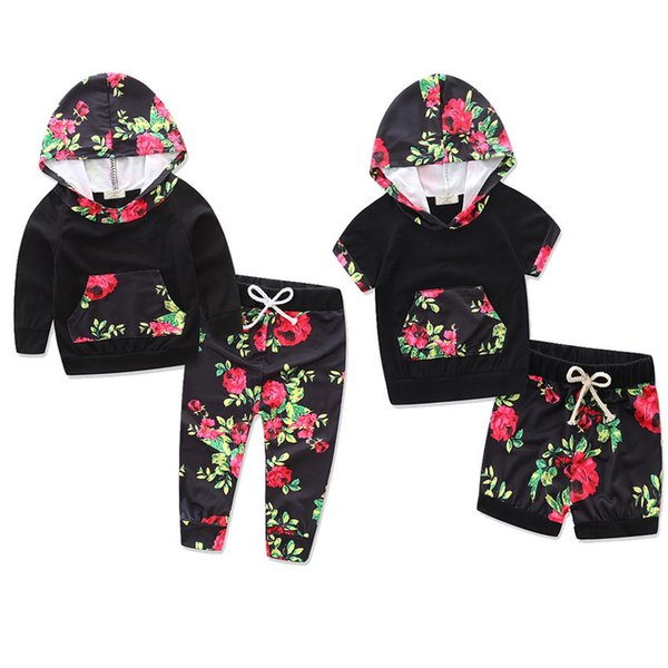 ins girls Black Floral hooded long short sleeved sweater suit two pcs suit hoodie +pants children cloth