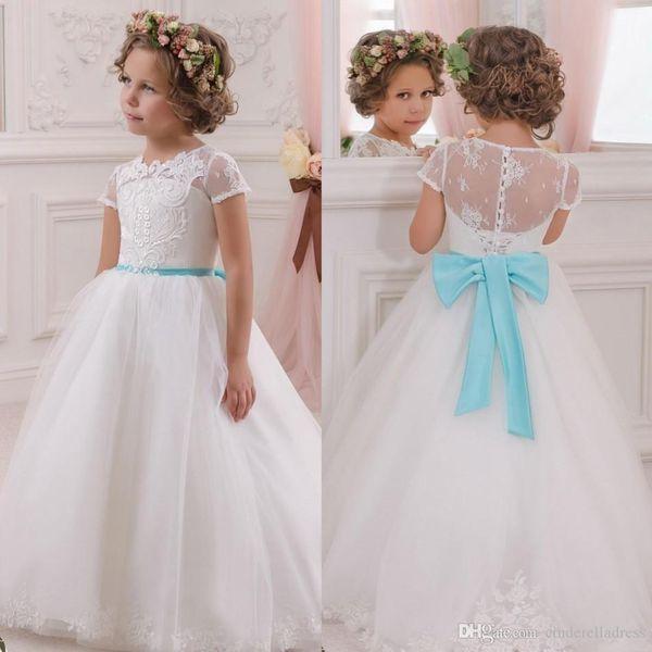 2016 Vintage White Lace Flower Girls Communion Dresses Little Infant ...