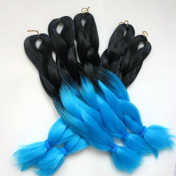 Kanekalon Jumbo Плетение Синтетические Волосы 20 дюймов 24 дюйма 100 г Blacksky blue Ombre Двухцветное наращивание волос Xpression