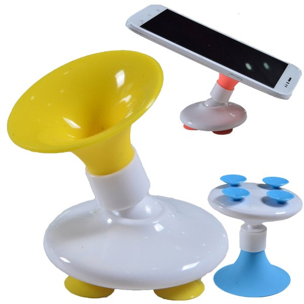 Cheap 360 Degree Swivel Phone Holder Portable Plastic Teléfono móvil Cuerno Diseño Sucker Universal Sticker Holder Phone Mounts