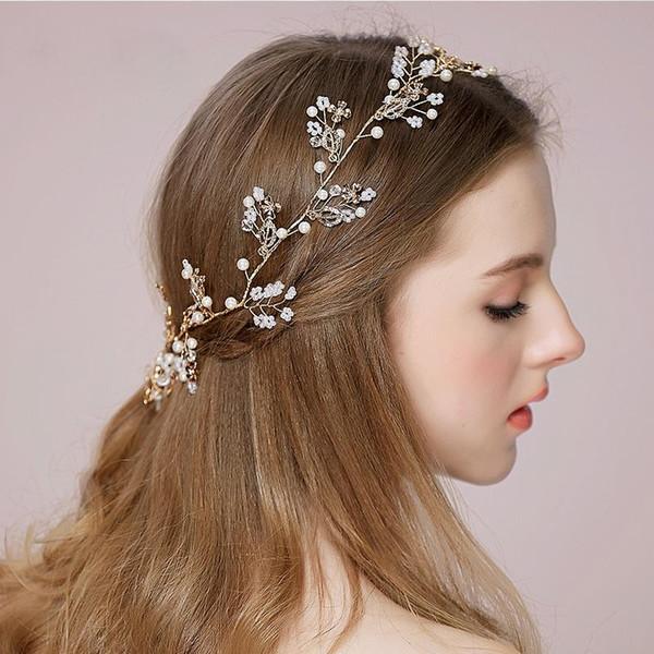 Cheap Wedding Hair Vines For Brides Tiaras Bridal Accessories Hair Combs For Weddings Headband Rhinestone Hair Adornments High Quality