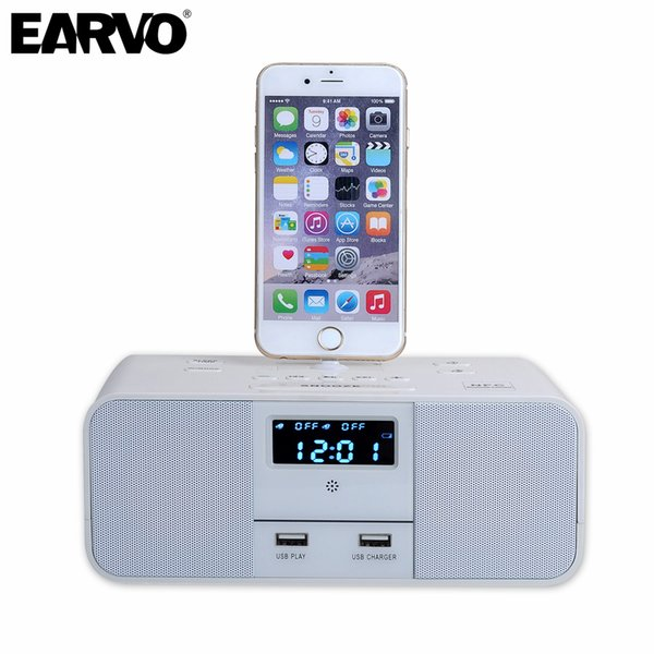 Wholesale- S6  Hotel Home Charger Dock Stand Station 5W x 2 Mini Wireless Bluetooth Music Speaker for iPhone 6/6s 7/7 Plus 5 5S SE