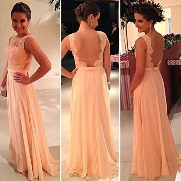 Di alta qualità Nude Back Chiffon Lace Long Peach Color per la vendita a buon mercato Abito da damigella d'onore Spose Maid Dress
