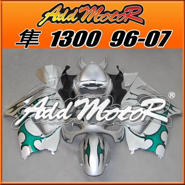 Best Selling Fairings Addmotor Injection Mold Plastic For Suzuki GSXR1300 Hayabusa 96-07 Flames Green Silver S3639 +5 Free Gifts Best Chioce
