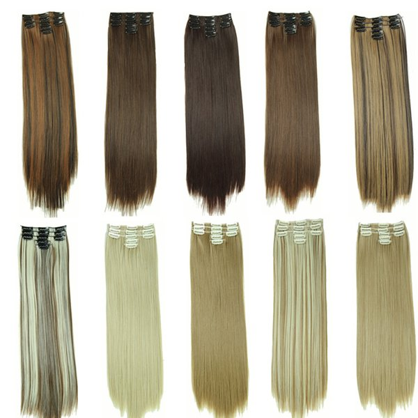 top popular 5pcs set Synthetic Clip in hair extensions Straight hair 22inch 130g M H color Clip on hair extensions D1020 2019