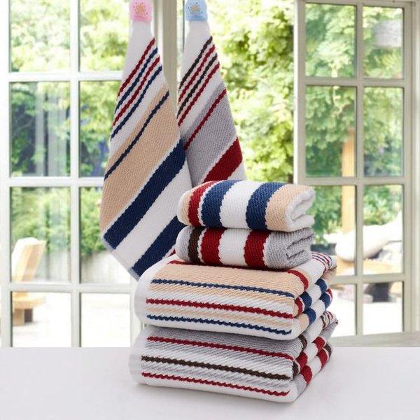 JZGH Striped Cotton Bath Towels for Adults 70*140cm,Designer SPA Beach  Bathroom Terry