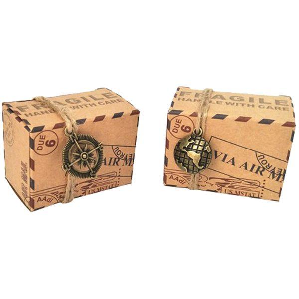 Al por mayor-50 unids Favores de la vendimia de Papel Kraft Caja de Dulces Viajes Tema Avión Correo Aéreo Caja de Embalaje de Regalo Recuerdos de Boda scatole regalo