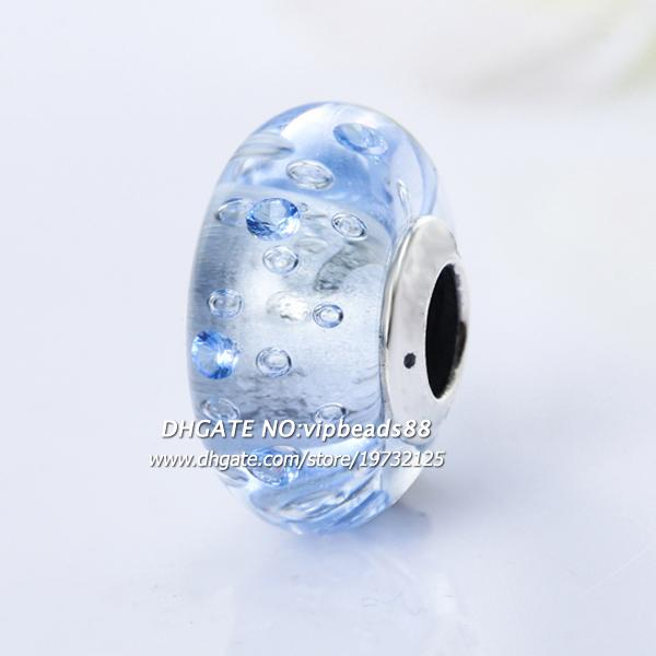 2017 NEW S925 Sterling Silver Fashion jewelry Light blue CZ ice crystal Murano Glass Beads Fit European DIY pandora Charm Bracelets