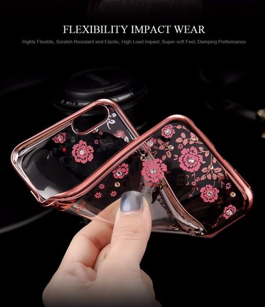FLOVEME Flora Diamond Custodia in silicone per iPhone 7/6 / 6S per iPhone 7/6 / 6S Plus Chic Fiore Bling TPU trasparente Cover posteriore per telefono