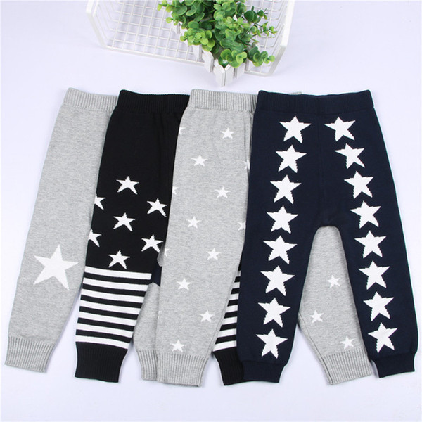 INS Baby Girls Boys Sweater Pants 2017 Fashion Autumn/Winter Star Patterns Knitted Warm Trousers Striped Toddler Kids Clothing