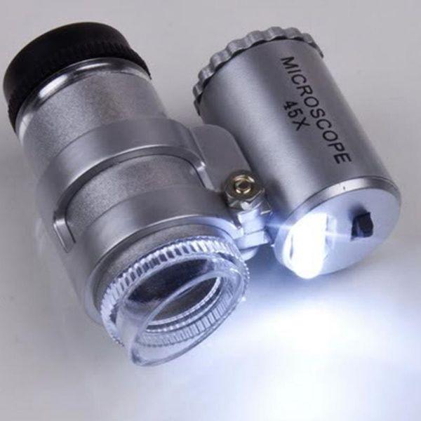 Toptan-Kuyumcu Loupes Cam Lens Gümüş Taşınabilir Mini 45X 2LED Cep Mikroskop Büyüteç