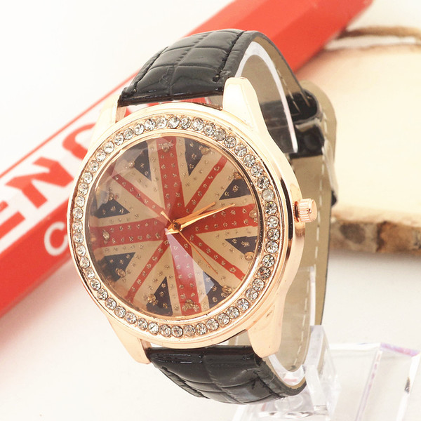 Free shipping!PVC leather band,gold plating alloy case,rhinestone deco,UK banner imprint dial,Gerryda fashion woman lady quartz watches