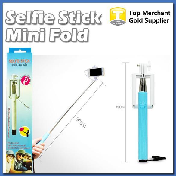 Selfie vara cabo levar pole dobrar um monopé com fio extensível handheld built-in do obturador e clipe para ios iphone samsung telefone inteligente