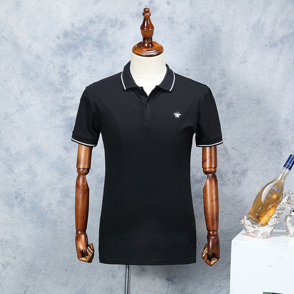 best selling 2019 New Designerl Men Brand Polo Shirt Fashion Pattern Black Short Sleeve Summer Straight Cotton Classic Polos Male Size M-XXL 4 Colors