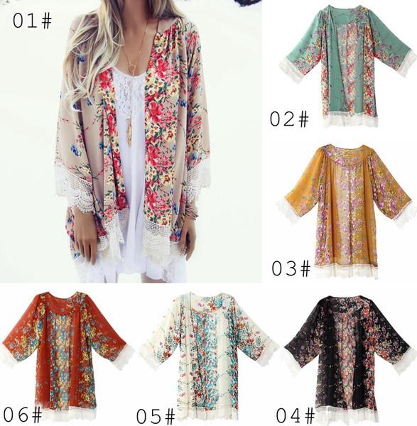 Neuer Frauen-Spitze-Quasten-Blumenmuster Schal-Kimono-Wolljacken-Art-beiläufige Häkelspitze-Chiffon- Mantel-Abdeckungs-Bluse 8colors wählen freies Schiff
