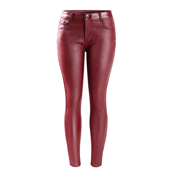 Women`s Ücretsiz Kargo Yeni Moda Orta Bel Ultra Streç Kırmızı Faux Deri Sıska Pantolon Kadın Için Femme Kot