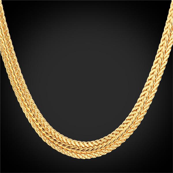 Collar de cadena de oro al por mayor-Gold Foxtail Necklace 18K 'Platino / 18K real chapado en oro / oro rosa a la moda 46CM / 55CM / 66CM para hombres N942