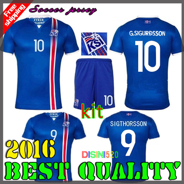newest 526e5 60465 2019 2016 Iceland Jersey European Cup National Team Home Short Sleeve 16 17  Iceland Soccer Jersey 9# SIGTHORSSON 10# SIGURDSSON Football Shirt From ...