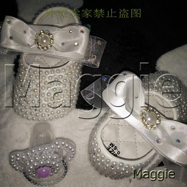 Wholesale Ribbon Rhinestone Baby Shoes Pacifier Handmade Pearls Baby ... 3018f8e46457