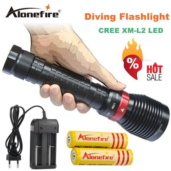 2500 Lumens Diving XM-L2 LED Waterproof Flashlight Torch Underwater Diving Light Lanterna+2x18650 Battery 4200mAh+charger XY001 1set
